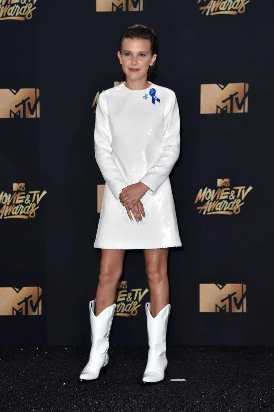 LOS ANGELES, CA - MAY 07: Actor Millie Bobby Brown, winner of Best Actor in a Show for 'Stranger Things', poses in the press room during the 2017 MTV Movie And TV Awards at The Shrine Auditorium on May 7, 2017 in Los Angeles, California. (Photo by Alberto E. Rodriguez/Getty Images)